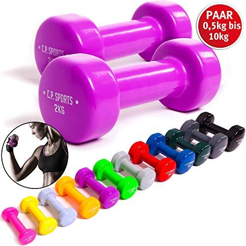 C.P. Sports Gymnastikhanteln 0,5-1,0-1,5-2,0-2,5-3,0-4,0-5,0-6,0-8,0-10 kg - Paare Kurzhantel, Vinyl Hanteln, Faust Hantel, Gewichte, Fitness (2 x 3,0 KG)