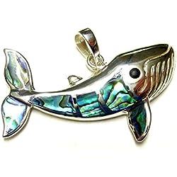 Diseño colgante ballena pez Abalone Plata de ley para buceo y animales orejeras