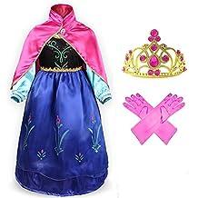 GenialES® Disfraz Vestido con Capa Guantes Diadema Fucsias de Princesa Lindo Regalo Cumpleaños Disfraz de Carnaval Fiesta Cosplay Boda Halloween para Niñas 2 3 4 5 6 7 Años)