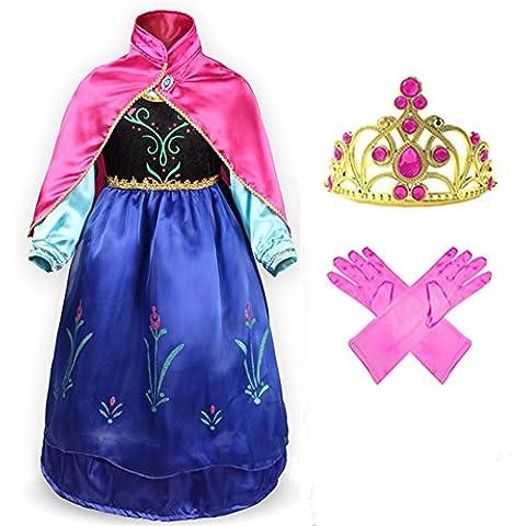 GenialES® Disfraz Vestido con Capa Guantes Diadema Fucsias de Princesa Lindo Regalo Cumpleaños Disfraz de Carnaval Fiesta Cosplay Boda Halloween para Niñas 2 3 4 5 6 7