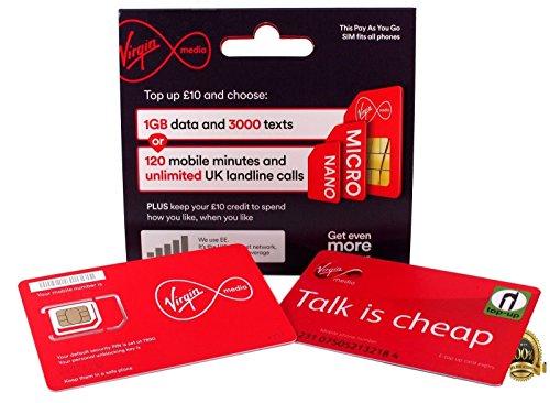Virgin Mobile 4G Multi SIM Karte + GRATIS giffgaff O2Multi SIM mit bereits hochgeladenem £5, PAYG-– unbegrenzte Anrufe, Texte und Daten–passend für alle Geräte–inkl. iPhone 4, 4S, 5, 5S, 5C, 6, 6S, 6+/Galaxy S2//S3//S4//S5/S6/s6-edge exzellente iPad 5, Air/Air 2–> Mobiles leitet Communications LTD Virgin Mobile 4g-handys