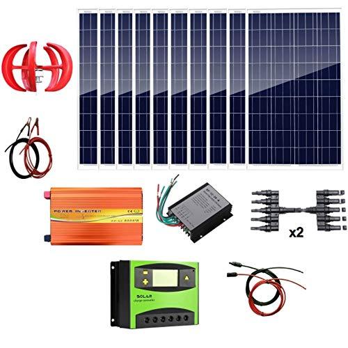 AUECOOR 1,4 kW Wind-Solar-Leistung: 400 W Windturbinen-Generator & 10 Stück 100 W Poly-Solarpanele & 3000 W 24 V Off-Gitter-Wechselrichter & Kabel-Anschluss für Zuhause Boot Wohnmobil (Leistung Solar-generator)