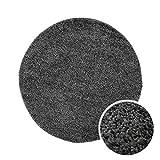 Shaggy-Teppich, Flauschiger Hochflor Wohn-Teppich, Einfarbig/Uni in Dunkelgrau für Wohnzimmer, Schlafzimmmer, Kinderzimmer, Esszimmer, Größe: 80 x 80 cm Rund