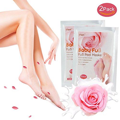 foot mask Premium Fußmaske, Babyfüße, Fuß Peeling Maske, Peeling Socken, iSuri 2 Paar Roseextrakt Exfoliating Foot Peel Mask für Männer Frauen- hervorragende Ergebnisse in 3-7 Tagen …