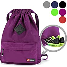 WANDF Drawstring Backpack String Bag Sackpack Cinch Water Resistant Nylon for Gym Shopping Sport Yoga by