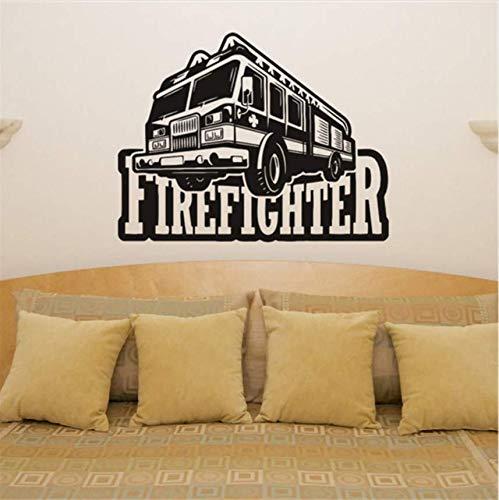 Qthxqa Feuerwehrmann Feuerwehrauto Lkw Fahrzeug Kunst Aufkleber Aufkleber Bild Poster Wandaufkleber Wohnkultur Abnehmbare Vinyl Aufkleber 58 * 46 -
