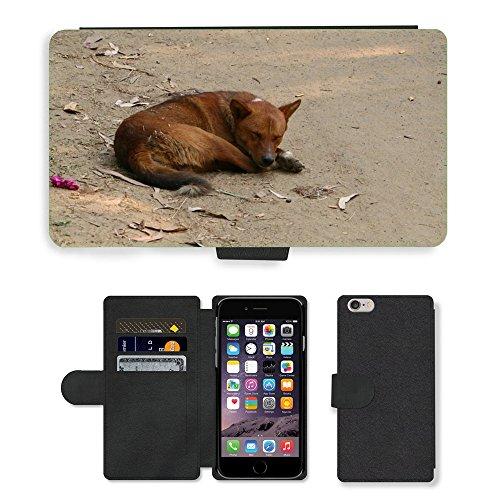 Just Mobile pour Hot Style Téléphone portable étui portefeuille en cuir PU avec fente pour carte//m00138383assise pour chien chien chien de couchage Assad//Apple iPhone 6Plus 14cm
