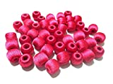 #3: Super shiny silk thread Dark Pink wrapped wooden beads for jewellery making- pack of 20