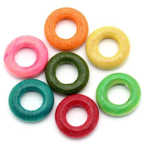 SiAura Material 200 Stück Holzperlen Ring 15mm mit 7mm Loch, Rund, Verschiedene Farben zum Basteln