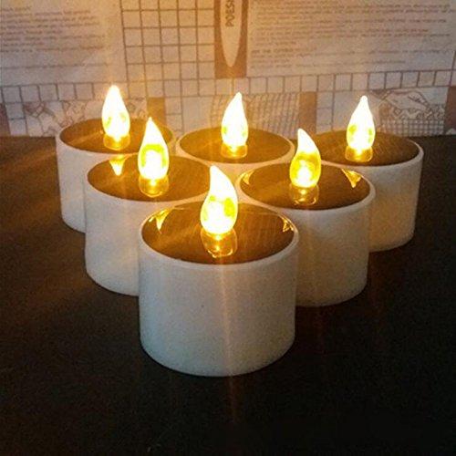 HAPPY ELEMENTS 6 PC Solar Angetrieben Led Kerze Hochzeitsdekoration Romantisches Warmes Weiß Teelicht Bestes Geschenk für Halloween Weihnachten (Nacht Leuchten Die Halloween-alternative)