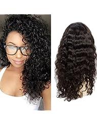 VIPbeauty Water wave Perruque lace frontale 130% Densite Remy cheveux Bresilien naturel couleur naturel pour femme 10 pouces.