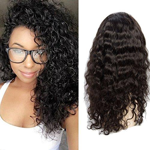 VIPbeauty Water wave Perruque lace frontale 130% Densite Remy cheveux Bresilien naturel couleur naturel pour femme 18 pouces.