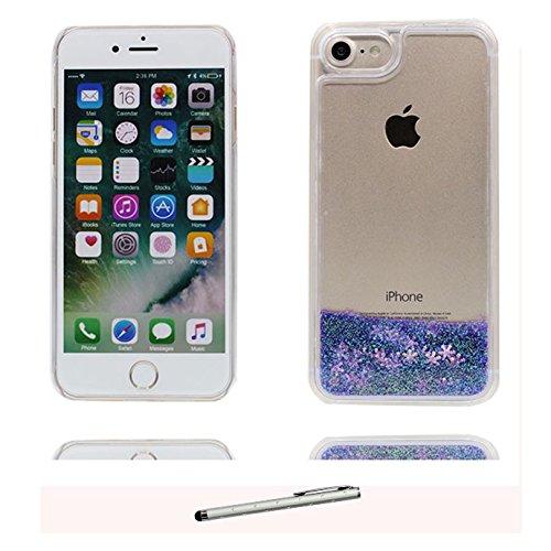 iPhone 7 Custodia, Copertura per iPhone 7, [ Liquido che scorre nuoto divertente Sparkle Bling trasparente protezione completa anti-gra] [ bianca ] Cover iPhone 7 Case & penna di tocco # # 4