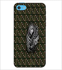 PrintDhaba Strapped Girl D-3006 Back Case Cover for APPLE IPHONE 5C (Multi-Coloured)