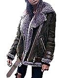 Minetom Frauen Chunky Wildleder Wolle Biker Jacke Mantel Fleece Outwear Dunkelgrün DE 36
