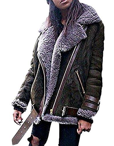Minetom Damen Mode Warm Casual Streetwear Winter Wildleder Wolle Motorradjacke Mantel Fleece Outwear Jacke Parka Mit Taschen Dunkelgrün DE 38