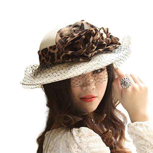 June's Young Chapeau Femme Vintage Classique Jazz Chapeau fedora de feutre/laine Blanc