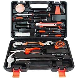 YiLianDaD Werkzeugset Werkzeugsatz Multi Haushalts-Werkzeugkoffer DIY Reparatur Kits Set Inkl. Hammer Schraubendreher Schraubenschlüssel-Set Steckschlüsselsatz für Garage Auto Garten