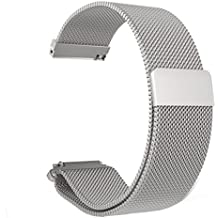 VICARA 22mm Pebble Time 2 Watch Band with Magnetic Milanese Loop Stainless Stell Watch Strap No Bukkle Needed for Pebble Time 2/Pebble Time/Pebble Time Steel (Silver)