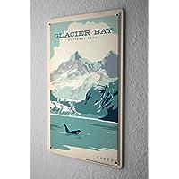 Cartello Targa In Metallo Tour Mondiale Balene Parco Nazionale di Glacier Bay in Alaska Piastra Insegna Metallica 20X30 cm