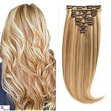 Extiff–Extensión con clip de cabello 100% natural liso–60cm, 160g–Cabello largo en 5minutos