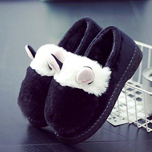 LaxBa Femmes Hommes Chaussures Slipper antiglisse intérieur Black