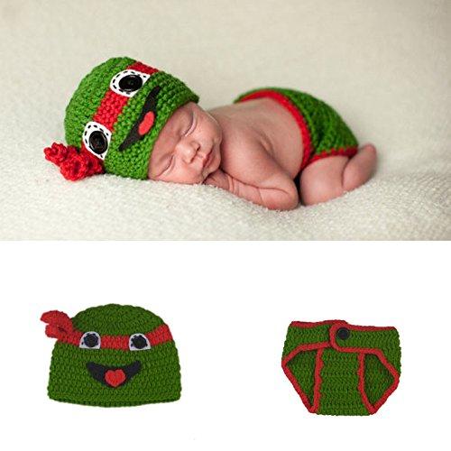 ENCOCO Foto-Kostüm, für Neugeborene, handgefertigt, gehäkelt, Grün