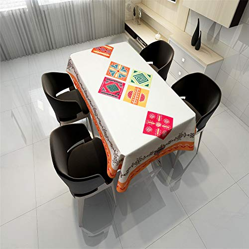QWEASDZX Fashion Tischdecke Einfaches Tuch Polyester `National Style Ölbeständige und wasserdichte rechteckige Tischdecke Geeignet für drinnen und draußen Mehrweg 100x140cm - Kirsche Holz Rund Esstisch