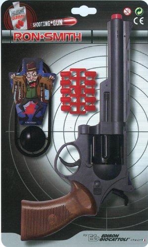 (EDISON Giocattoli Champions-Line Ron Smith: Spielzeugpistole in Revolver-Optik, für Cowboy- oder Polizeikostüm mit Gummi-Munition, 28 cm, schwarz/braun (E0463/33))