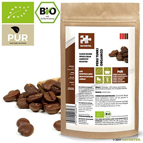 NATURTEIL - BIO KAFFEE ARABICA GOURMET PERU TUNKI ORGANICO - 100% Arabica Coffee, Organic, Vegan - 250g