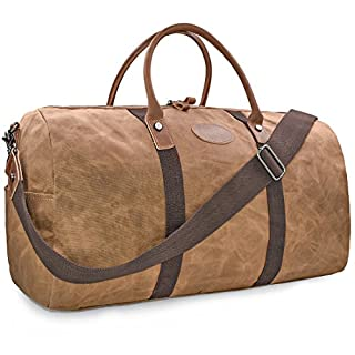 Mens Travel Duffle Weekend Overnight Bag Waterproof Vintage Canvas Genuine Leather Holdall Satchel Totes Bag Brown