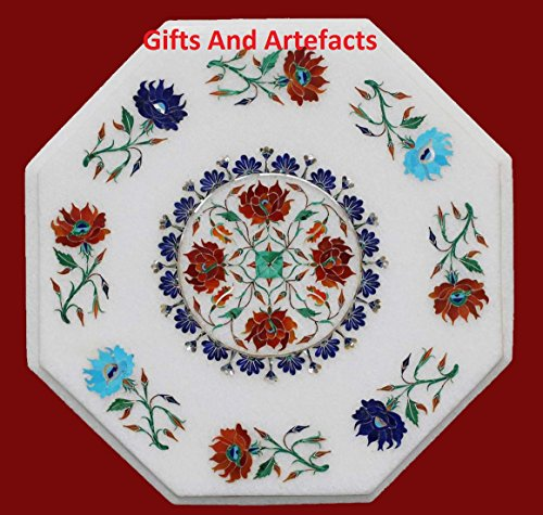 Inlay Top Sofa Tisch (Gifts And Artefacts 38,1 cm Octagon weiß Marmor Multi Farbe Stein Sofa Tisch Top Inlay Blumen Design)