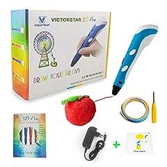 Idea Regalo - VICTORSTAR @ 3D Penna Stampa - RP100A Portatile - Blu + Bianco per Il Disegno e Ehirigori 3D + Adattatore + ABS Filamento / Il Regalo Incredibile per i Bambini