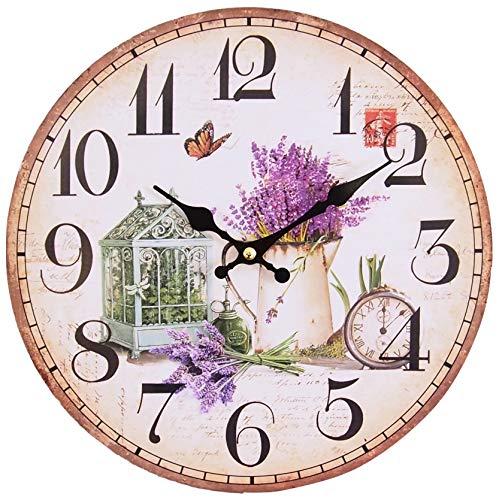 Perla PD Design, Orologio da parete, orologio da cucina, vintage design ca.  Ø 28 cm Diametro 28 cm, Legno, Frühlingsgarten