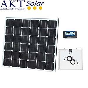 100W 12V KIT Panneau Solaire AKT Solar avec régulateur de charge de 10A et câbles solaires de 5m