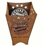 Metallmichl Fußball FC Bayern München Feuerkorb / Feuertonne Fan-Artikel quadratisch Höhe 70 cm Breite 40x40 cm mit Logo und Schriftzug