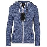 Icepeak Damen Sweatjacke mit Kapuze Fleecejacke Kuschelfleece Jacke Outdoor Strickfleecejacke in blau Weiss schwarz Kiara, Größe:42, Farbe:Ocean-Blue