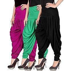 Navyataa Womens Lycra Dhoti Pants For Women Patiyala Dhoti Lycra Salwar Pant Free Size (Pack Of 3) Magenta , Green & Black