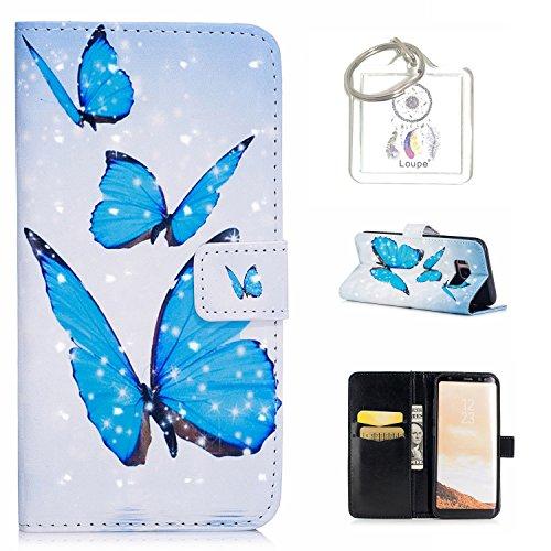 """Preisvergleich Produktbild für Galaxy S8 Plus 6.2"""" Hülle, Retro 3D Muster PU Leder Hülle Wallet Case Folio Schutzhülle in mit Standfunktion Karteneinschub und Etui Flip Case Schutzhüllen +Schlüsselanhänger (P) (13)"""