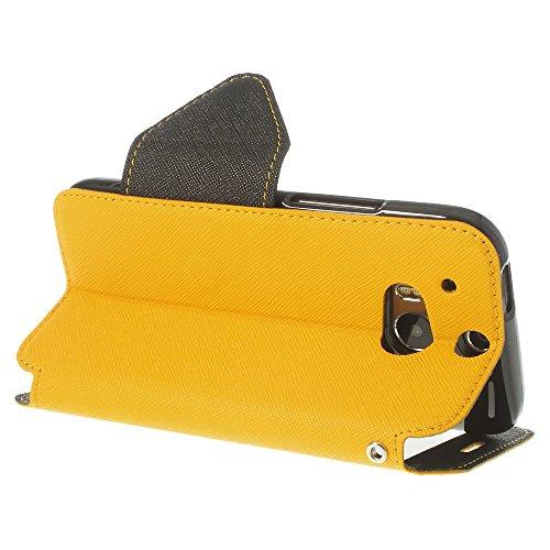 Housse protection dans la perfection | Ultra Slim Premium Housse Flip Case cover Étui Étui de protection en cuir avec fenêtre en simili cuir Bumper avec intérieur en silicone Coque Original Roar Fancy jaune