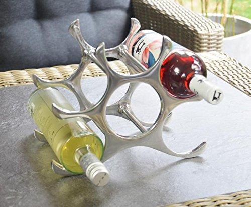 Michael Noll Weinregal Flaschenregal Regal Flasche Aluminium Silber 22 cm