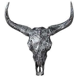 Riess Ambiente El Toro Décoration murale en forme de crâne de buffle Argenté 62cm