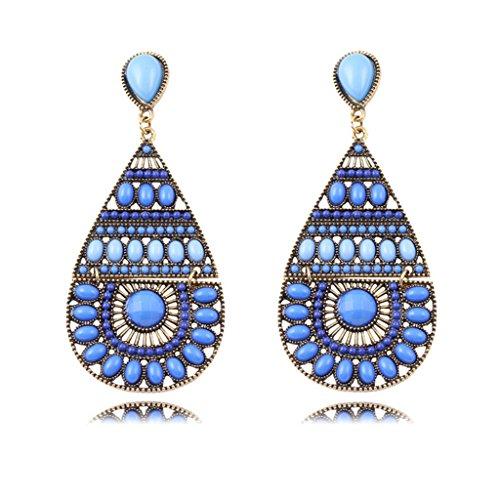 Jiayiqi Sektor Handgemachte Drop Ohrringe(Blau)