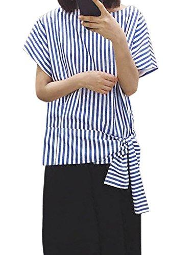 sourcingmap Femme Cravate Décor Ourlet Asymétrique Manches Courtes T-Shirt Bleu