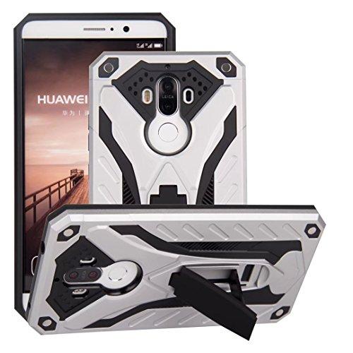 EKINHUI Case Cover Neue stilvolle Hybrid-Rüstung Schutzhülle Case Shockproof Dual Layer PC + TPU Rückseitige Abdeckung mit Kickstand für [Shock Absorbtion] für Huawei Mate 9 ( Color : Silver ) Silver