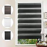 KINLO Lichtblick Duo-Rollo Doppelrollo mit Bohren für Fenster & Türen Schwarz 90 x 150 cm(BxL) Seitenzugrollo Kettenzugrollo