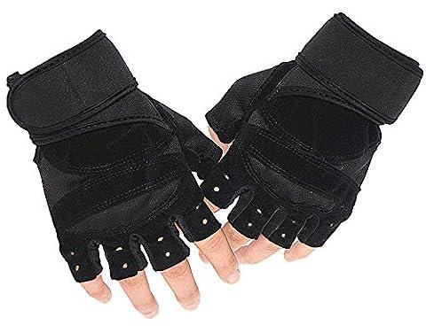 Freizeit Fitness Handschuhe Half-Finger Outdoor Kletterhandschuhe Reitausrüstung Hantel Training Sports Anti-Skid-Schwarz