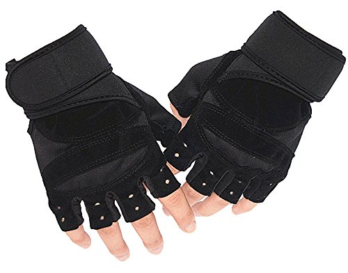 Power Thermo Arm Warmers (Freizeit Fitness Handschuhe Half-Finger Outdoor Kletterhandschuhe Reitausrüstung Hantel Training Sports Anti-Skid-Schwarz)