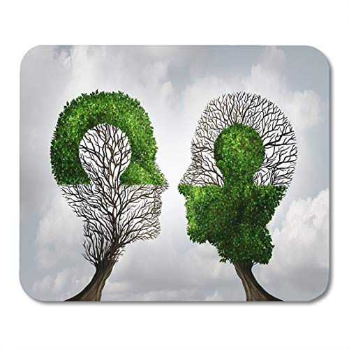 Mouse pad Perfect Partnership As Connecting Puzzle Shaped Two Trees in The Form of Human Heads Together Corporate Office Supplies mouses pad