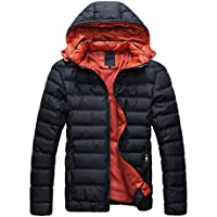 SODIAL (R) 2014 Hombres Caliente Abrigo con capucha sudadera abrigo anorak invierno chaqueta abajo Negro y Rojo - M